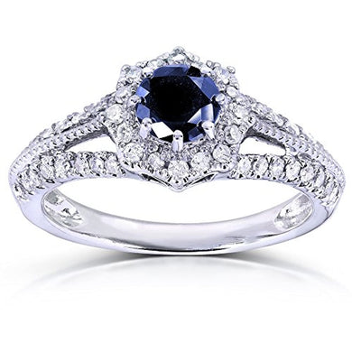 ENGAGEMENT RING Vintage Sapphire & Diamond Engagement Ring 1 Carat (ctw) in 14k White Gold - EK CHIC