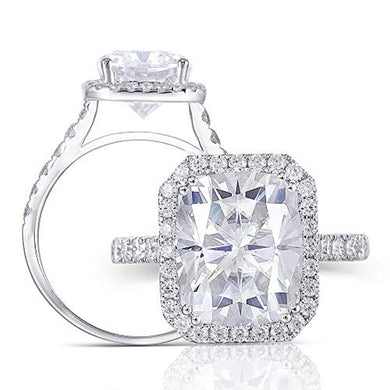 ENGAGEMENT RING Solid 14K White Gold 5CT G-H-I -Cathedral Set Cushion Cut Halo Engagement Ring - EK CHIC