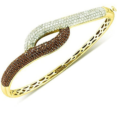 BRACELET 3.00 Carat -14K White & Red Diamond Bangle-Yellow Gold - EK CHIC