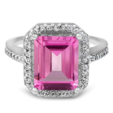 ENGAGEMENT RING 14K GOLD - 4 1/2ct Pink Topaz & Diamond Vintage Halo Engagement Ring - EK CHIC