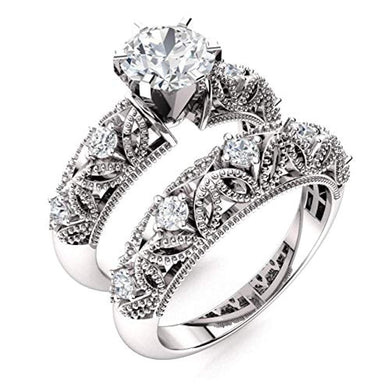 ENGAGEMENT RING Natural and GIA Certified Diamond Engagement Ring Set in 14K White Gold - EK CHIC