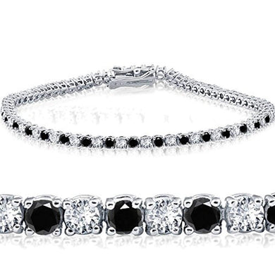TENNIS BRACELET 2ct Black & White Diamond Tennis Bracelet 14K White Gold 7