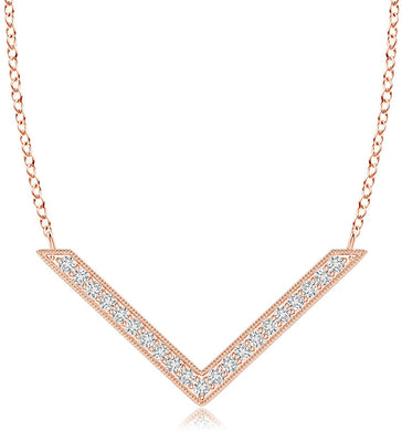 NECKLACE Diamond Chevron Necklace in 14k Rose Gold - EK CHIC