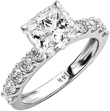 ENGAGEMENT RING 2 Carat PLATINUM-GIA Certified Princess Cut Diamond Engagement Ring - EK CHIC
