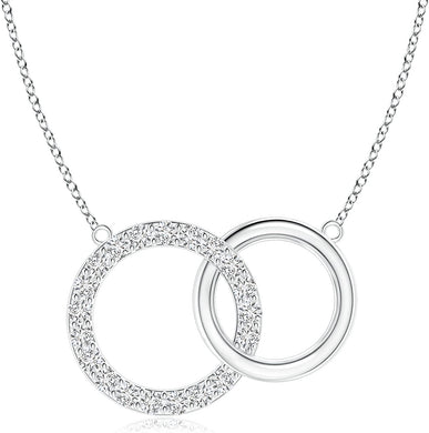 NECKLACE Diamond Intertwined Circle Necklace in 14k Gold - EK CHIC