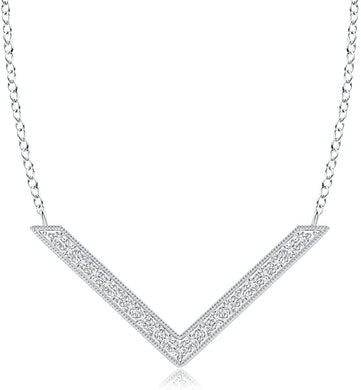 NECKLACE Diamond Chevron Necklace in 14k White Gold - EK CHIC