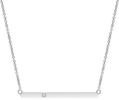 NECKLACE Prong Set Diamond Bar Necklace in 14k Gold - EK CHIC