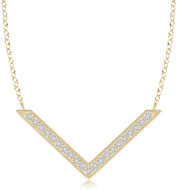 NECKLACE Diamond Chevron Necklace in 14k Gold - EK CHIC