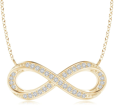 NECKLACE Diamond Sideways Infinity Necklace in 14k Gold - EK CHIC