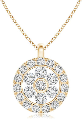 NECKLACE Diamond Flower Cluster Pendant with Halo in 14k Gold - EK CHIC