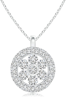 NECKLACE Diamond Flower Cluster Pendant with Halo in 14k White Gold - EK CHIC