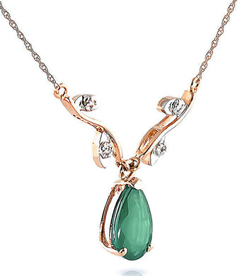 NECKLACE 14K Rose Gold Drop Necklace W/Natural Diamonds & Emerald - EK CHIC
