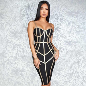 DRESS Spaghetti Strap Hot Celebrity Evening Dress - EK CHIC
