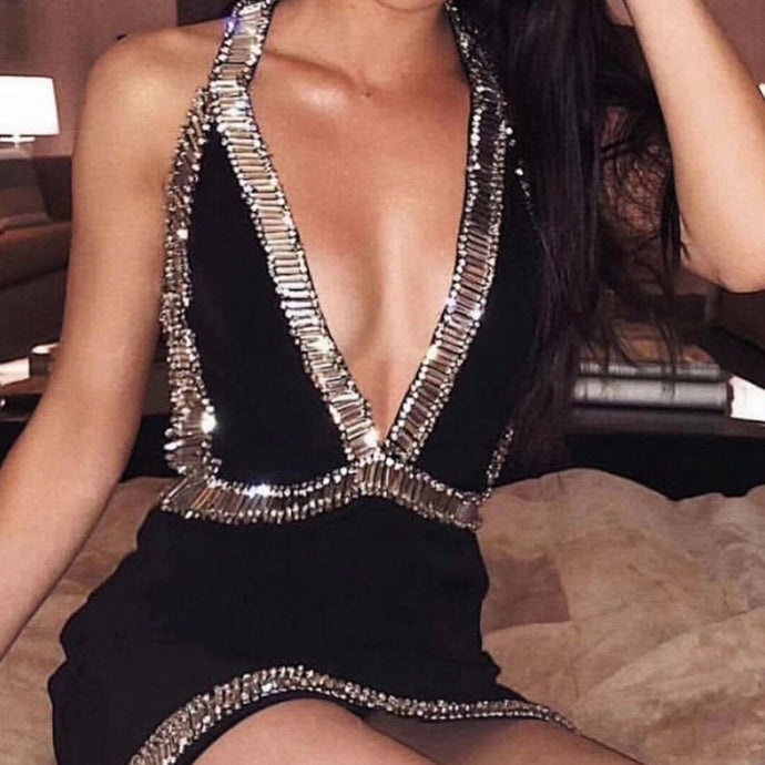 DRESS Halter Deep V Neck Celebrity Evening Party Dress - EK CHIC
