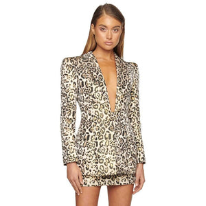 TWO PIECE SUIT Leopard Two Pieces Sets-Deep V Neck - EK CHIC