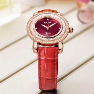 WATCH LUXURY Genuine Leather Ladies Sapphire Crystal Watch - EK CHIC