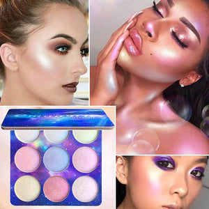 FACE HIGHLIGHTER 9 Colors Natural Glitter Palette Shimmer Highlighter - EK CHIC