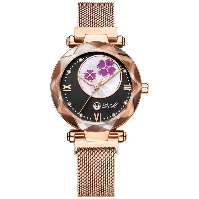 WATCH Women Watch Luxury Magnetic Buckle Mesh Band - EK CHIC