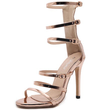 Load image into Gallery viewer, High Heels Hot Luxury Gold Gladiator Sandals - Women High Heels - EK CHIC