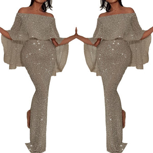 DRESS Evening Silver Bling Sequins Dress - EK CHIC