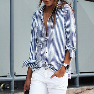 TOPS Loose Office Lady Striped Shirt Blouses - EK CHIC