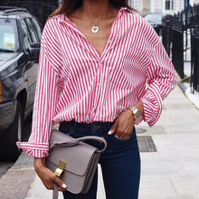Load image into Gallery viewer, TOPS Loose Office Lady Striped Shirt Blouses - EK CHIC