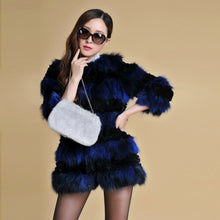 Load image into Gallery viewer, FUR COAT Genuine Fur Coat Blue or Wine Color (One SIze) - EK CHIC
