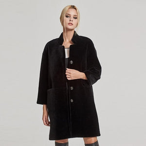 COAT Mongolian Fur Coat with Stand Collar - EK CHIC