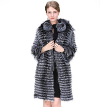 Load image into Gallery viewer, FUR COAT Genuine Gray Silver Fox Fur Coat - England Style - EK CHIC