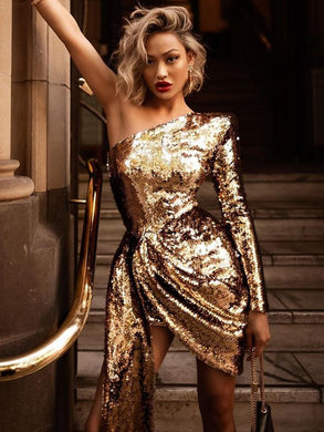 Dresses One Shoulder Long Sleeve Golden Sequin Dress - EK CHIC