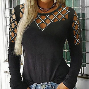 TOPS Hollow Out O Neck Long Sleeve Ladies Top - EK CHIC