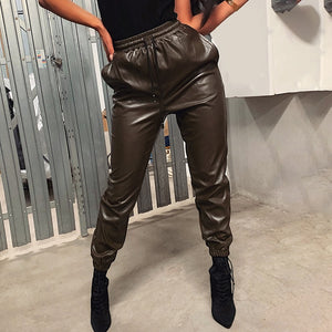 PANTS Faux Leather Harem Elastic Drawstring Pants - EK CHIC