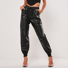Load image into Gallery viewer, PANTS Harem Faux Leather Loose Elastic Waist Pants - EK CHIC