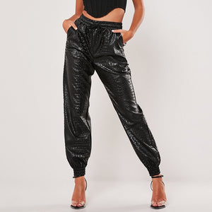 PANTS Harem Faux Leather Loose Elastic Waist Pants - EK CHIC