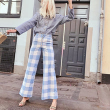 Load image into Gallery viewer, PANTS Red/Blue Plaid Wide Leg Ankle Length Women Loose Pants - EK CHIC