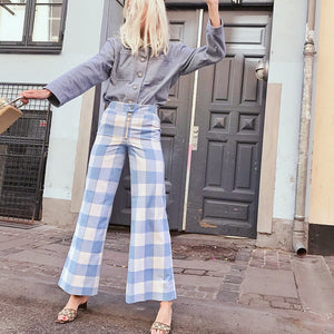 PANTS Red/Blue Plaid Wide Leg Ankle Length Women Loose Pants - EK CHIC