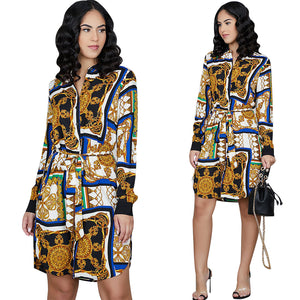 DRESS Classy European Print Dress Shirt - EK CHIC