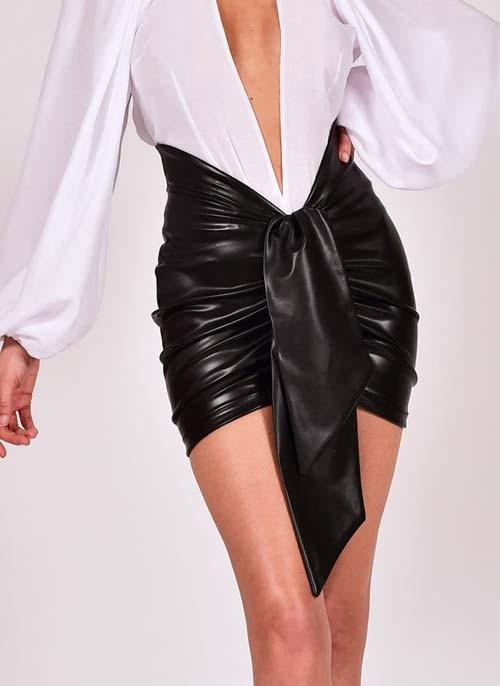 Skirts Women Ruched Leather Skirt - EK CHIC