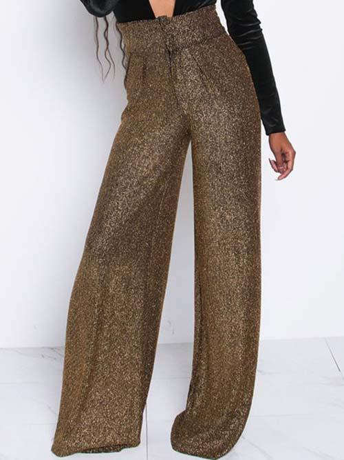 Pants & Capris Women Shinny High Waist Stretch Trousers - EK CHIC