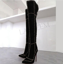 Load image into Gallery viewer, BOOTS Rivet Thigh High Studded Stiletto Black Boots - EK CHIC