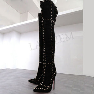 BOOTS Rivet Thigh High Studded Stiletto Black Boots - EK CHIC