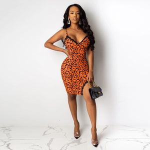 DRESS Leopard Printed Spaghetti Strap V-neck Split Bodycon Mini Dress - EK CHIC
