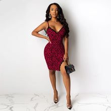 Load image into Gallery viewer, DRESS Leopard Printed Spaghetti Strap V-neck Split Bodycon Mini Dress - EK CHIC