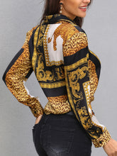 Load image into Gallery viewer, TOPS Leopard Print Knot Front Long Sleeve Blouse - EK CHIC