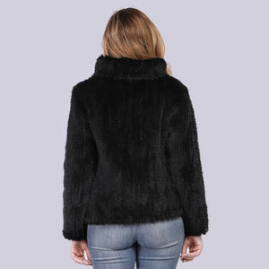 FUR Luxury 100% Genuine Knitted Mink Fur Coat - EK CHIC