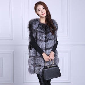 FUR VEST Luxury Real Fox Fur Vest - Full Pelt - EK CHIC