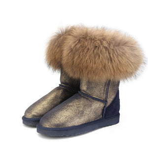 BOOTS Genuine Leather -100% Natural FOX Fur Boots - EK CHIC