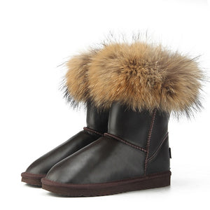 BOOTS Leather & Natural Fox Fur Ugg Style Boots - EK CHIC