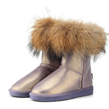 Load image into Gallery viewer, BOOTS Leather & Natural Fox Fur Ugg Style Boots - EK CHIC