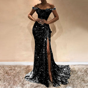 DRESS Sexy Slash Neck Sequins Sexy Women Party Dress - EK CHIC